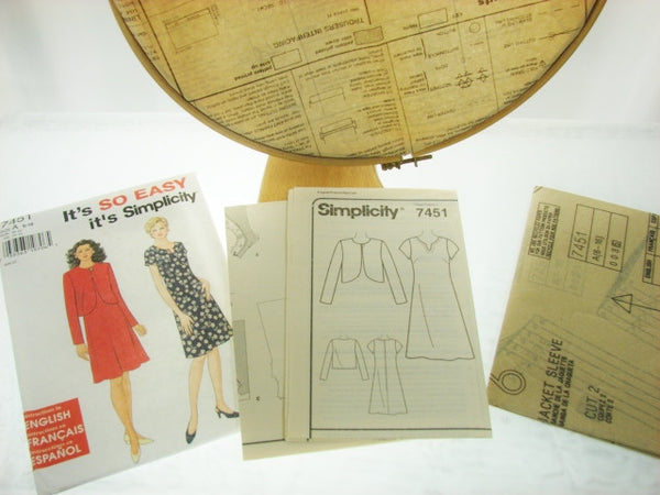Simplicity Pattern 7451 So Easy Dress and Jacket Sewing Supplies - The Wicker Form - 2