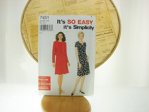 Simplicity Pattern 7451 So Easy Dress and Jacket Sewing Supplies - The Wicker Form - 1