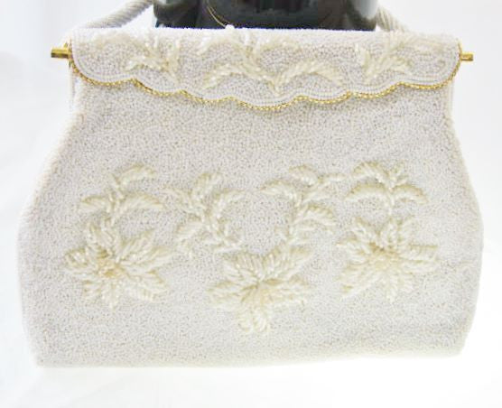 Vintage Beaded White Purse Handmade Hong Kong Unused Accessories - The Wicker Form - 2
