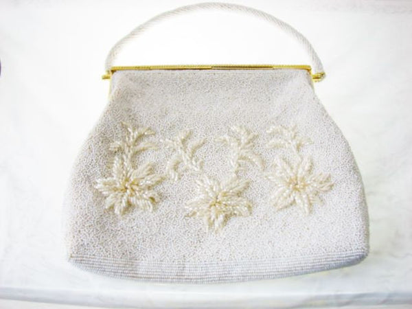 Vintage Beaded White Purse Handmade Hong Kong Unused Accessories - The Wicker Form - 5