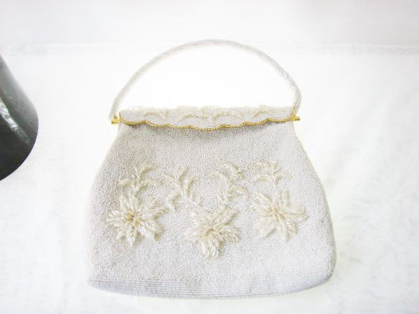 Vintage Beaded White Purse Handmade Hong Kong Unused Accessories - The Wicker Form - 6