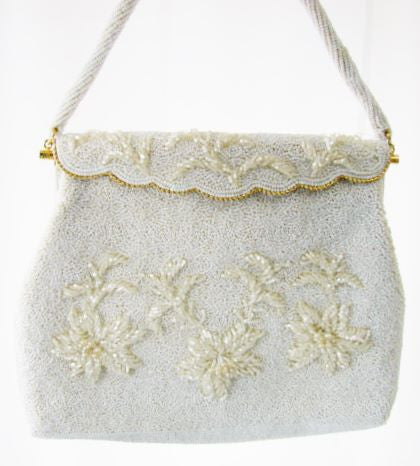 Vintage Beaded White Purse Handmade Hong Kong Unused Accessories - The Wicker Form - 1