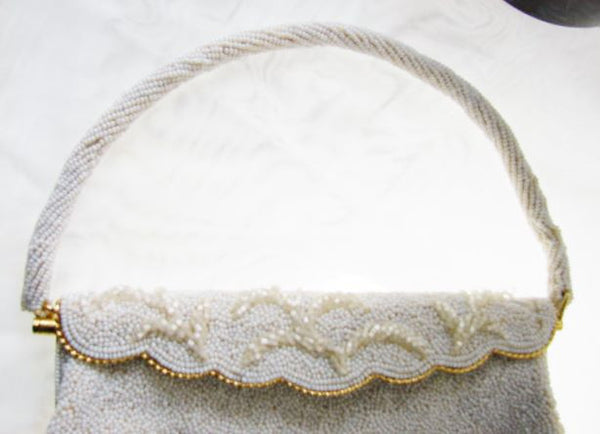 Vintage Beaded White Purse Handmade Hong Kong Unused Accessories - The Wicker Form - 3