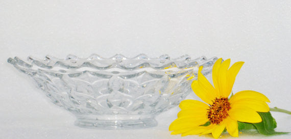 Vintage Footed Crystal Bowl With Pointed Edge Crystal - The Wicker Form - 5