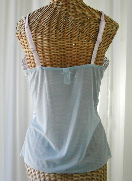 Wacoal Embrace Lace Camisole Powder Blue and Pink Large Free Ship - The Wicker Form - 2