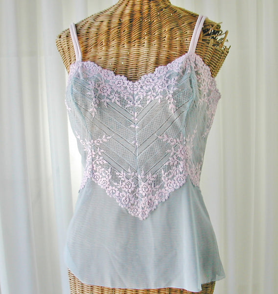 Wacoal Embrace Lace Camisole Powder Blue and Pink Large Free Ship - The Wicker Form - 1