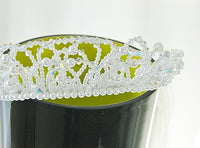 Bridal Crystal Tiara Veil Attached Blusher 2-Tier Bridal - The Wicker Form - 9
