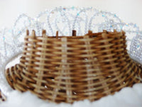 Bridal Crystal Tiara Veil Attached Blusher 2-Tier Bridal - The Wicker Form - 14