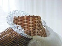 Bridal Crystal Tiara Veil Attached Blusher 2-Tier Bridal - The Wicker Form - 13