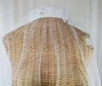 Bridal Crystal Tiara Veil Attached Blusher 2-Tier Bridal - The Wicker Form - 3