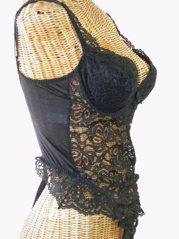 Lily Of France Black Sheer Lace Push Up Teddy - Voila Vintage Lingerie and Antiques - 1
