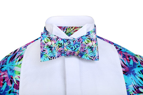 Palm patterned bow tie