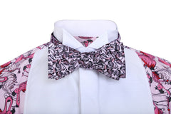 Flamingo patterned bow tie