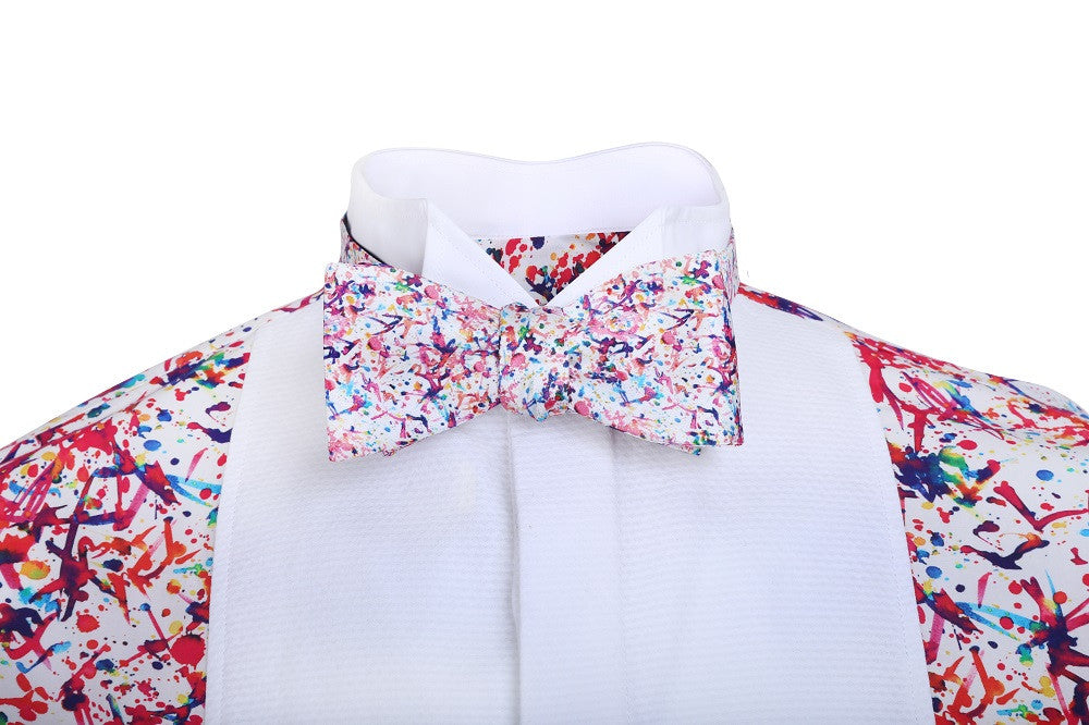 Splash patterned bow tie