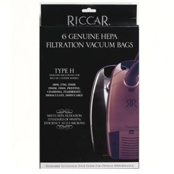 Riccar Vacuum Bags HEPA Type H Immaculate, Impeccable, Pristine, Charisma, Starbright, 1800, 1700, 1500 Series RHH-6