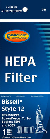 Bissell Style 12 HEPA Filter with Activated Charcoal (EnviroCare 941)