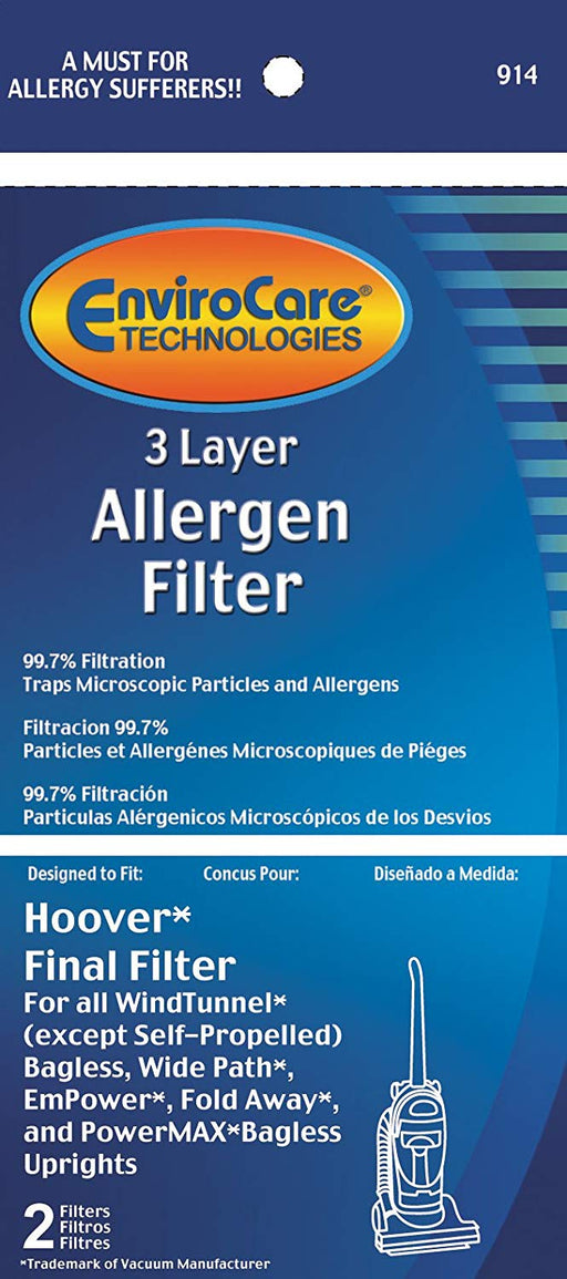 Hoover 3 Layer Allergen Final Filter - 2 Pack (EnviroCare 914)