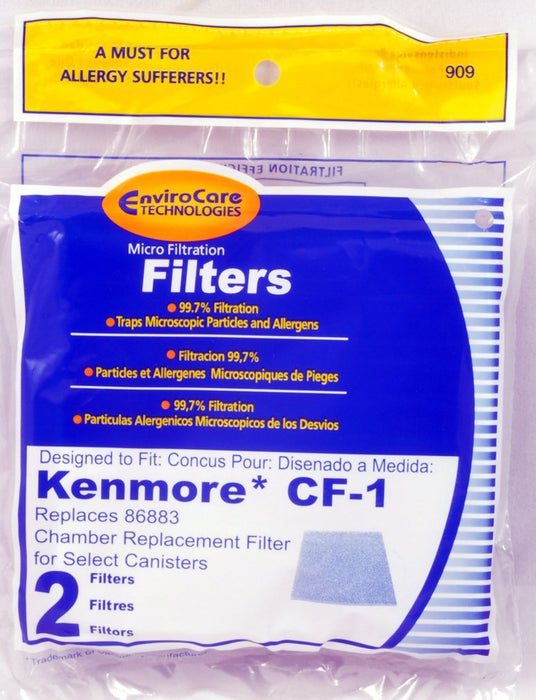 Kenmore CF-1 86883 Dust Compartment Filters - 2 Pack (EnviroCare 909)