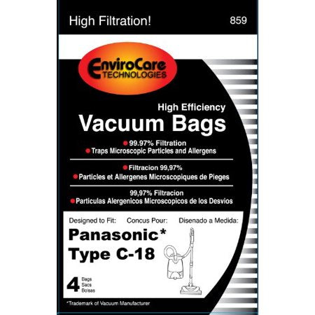 Panasonic Type C-18 Vacuum Bags for MC-CG800 - 4 Pack (EnviroCare 859)