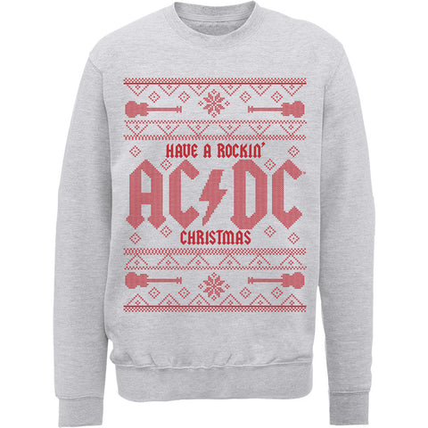 Have A Rockin' AC/DC Ugly Christmas Red Men's Sweatshirt