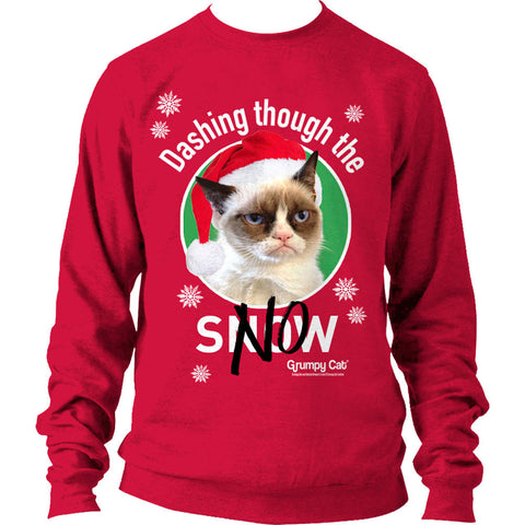 Grumpy Cat Dashing Through The No Christmas Women's Sweatshirt