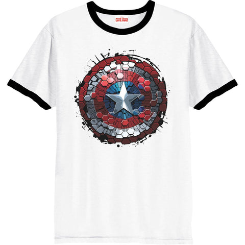 Captain America - Civil War White Ringer Hex Shield T-Shirt - BAY 57
