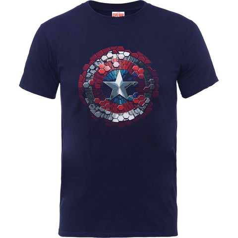 Captain America - Civil War Navy Hex Shield T-Shirt - BAY 57