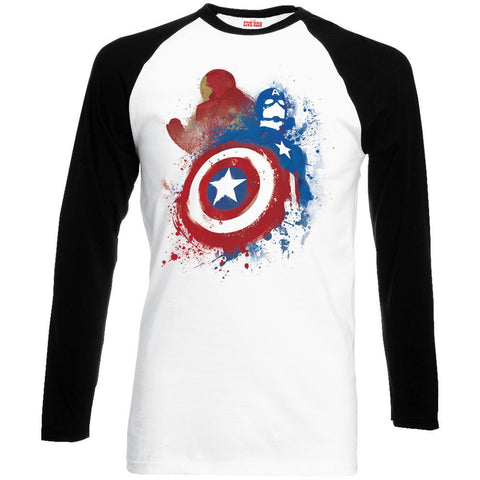 Captain America - Civil War white/black Painted VS long sleeve T-Shirt - BAY 57