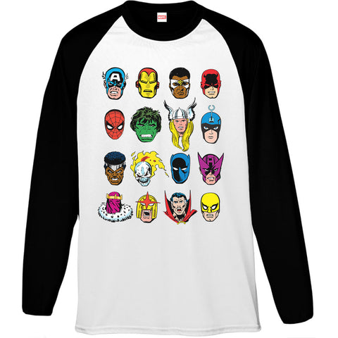 Marvel Comics Faces Men's Baseball T-Shirt