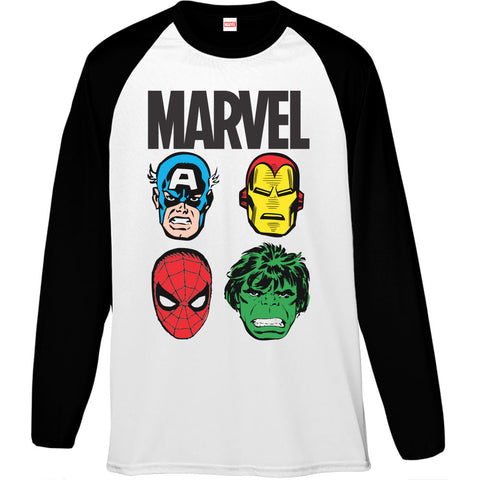Marvel Hero Big Faces Men's Baseball T-Shirt