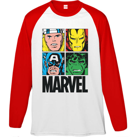 Marvel Super Hero Faces Men's Baseball T-Shirt