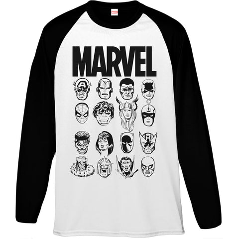 Marvel Comics Faces Monochrome Men's Baseball T-Shirt