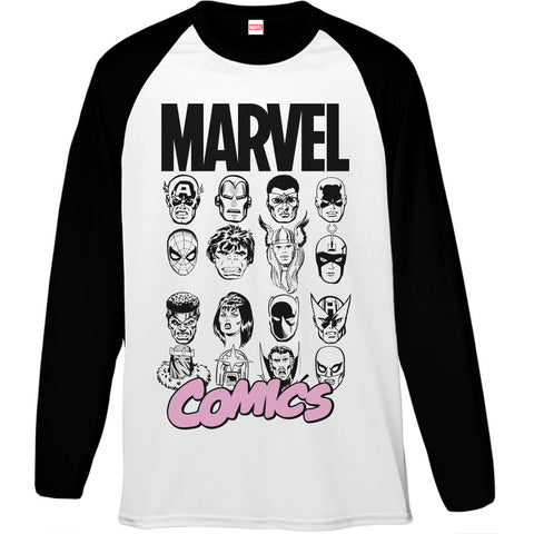 Marvel Comics Pink Faces Men's Baseball T-Shirt