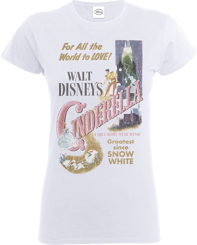 Disney Princess Cinderella Retro Poster White Women's T-Shirt