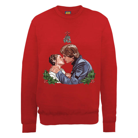 Star Wars Princess Leia Han Solo Mistletoe Kiss Ugly Christmas Women's Sweatshirt