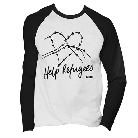 Help Refugees Black Print Mens Long Sleeved Baseball T-Shirt