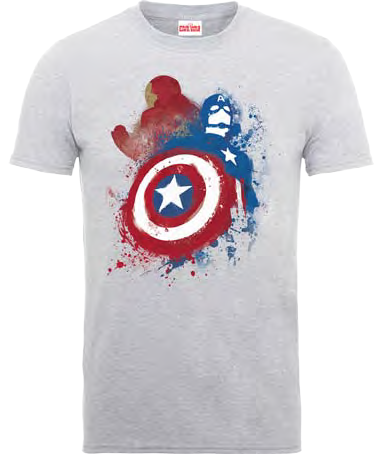 Captain America - Civil War Grey Painted VS T-Shirt - BAY 57