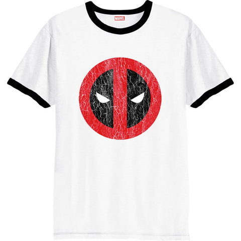 Deadpool Cracked Logo White Ringer Official Men's T-Shirt