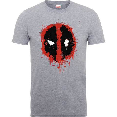 Deadpool Splat Face Heather Grey Official Men's T-Shirt
