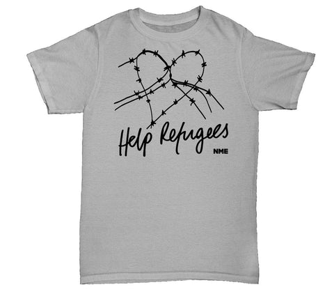 Help Refugees Black Print Womens T-Shirt