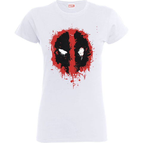 Deadpool Splat Face White Official Women's T-Shirt