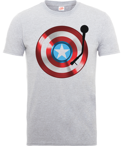 Captain America 75th Record Grey Official Men's T-Shirt