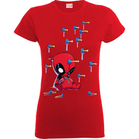 Deadpool Cartoon Knockout Red Women's Official T-Shirt