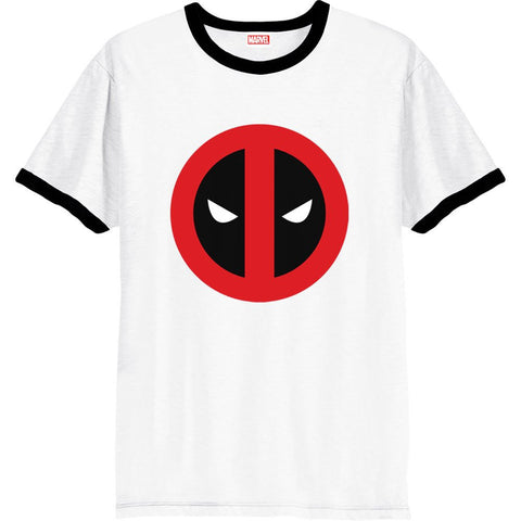 Deadpool Clean Logo White Ringer Official Men's T-Shirt