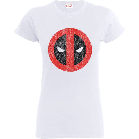 Deadpool Cracked Logo White Women's Official T-Shirt