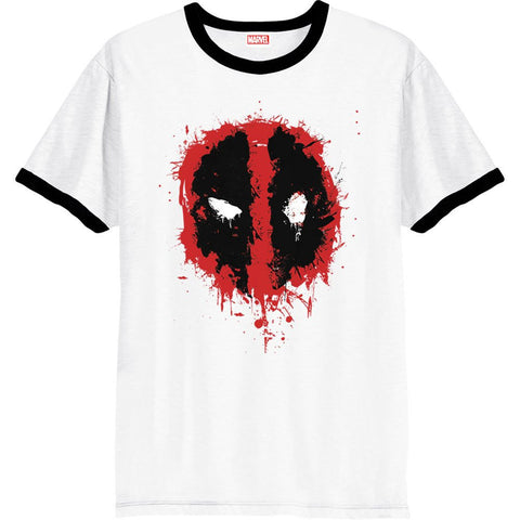 Deadpool Splat Face White Ringer Official Men's T-Shirt