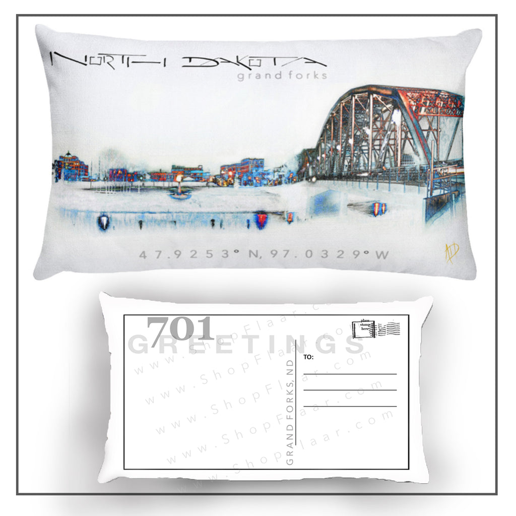Grand Forks Postcard Pillow