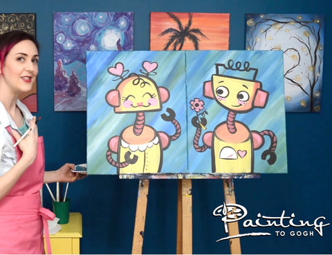 Artist painting diptych painting on two separate canvases