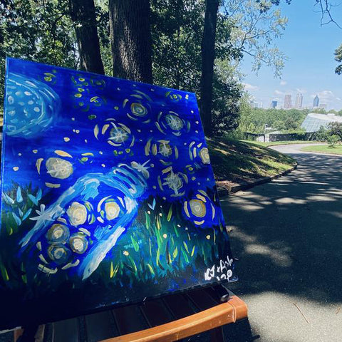 Fireflies Painting Kit Outside in Cityview