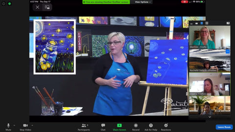 Participants sharing a screen to watch a painting party tutorial on Zoom